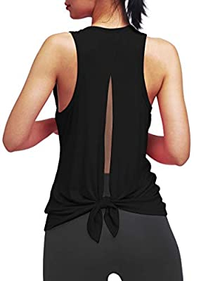 Bestisun Sexy Workout Clothes Running Yoga Backless Shirts Open Back Muscle Tanks Pilates Exercise Tops Racerback Hiking Active Tank Tops Workout Yoga Outfits Black M