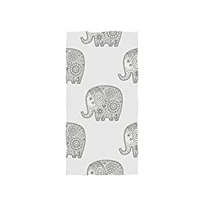 "senya Bath Towel Doodle Elephant Pattern Soft Hand Towels for Bathroom Spa Gym Sports 30""x 15"""