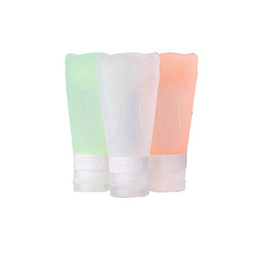 contenitori da viaggio,NNIUK bottiglie di viaggio e sacchetto Bottiglia cosmetica portatile multifunzione silicone Punti viaggio imbottigliamento per le vacanze, all'aperto, escursionismo Set di 3