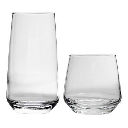 Argon Tableware Tallo - Juego de Vasos Bajos y Altos - para Uso Diario - 345 y 480ml - Pack de 12