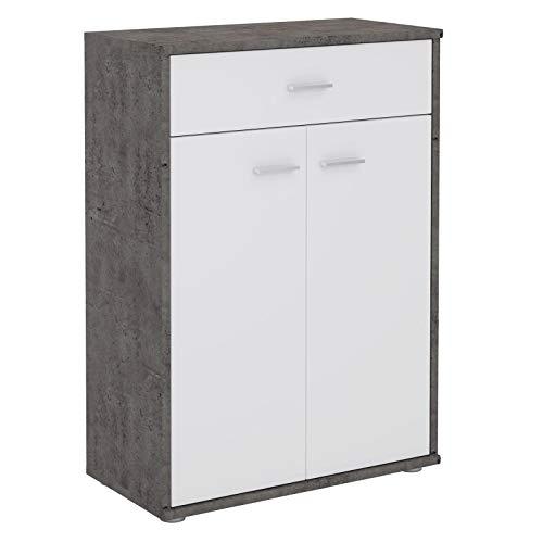 CARO-Möbel Kommode Tommy Sideboard Schrank in dunkler Betonoptik/weiß mit Schublade und 2 Türen