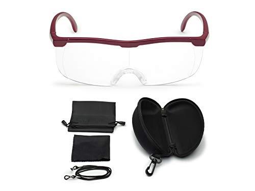 Vergrößerungsbrille Lupenbrille Zauberbrille Lupe auf der Nase optische Vergrößerung auf 200% inkl. Hardcase und Zubehör (Rot)