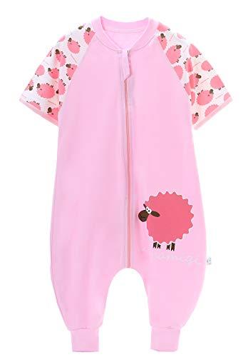 Chilsuessy Baby Unisex Sommer Schlafsack mit Beinen Kurzarm Sommerschlafsack mit Fuesse Baby Schlafanzug Strampelsack, Pink, 90/Baby Hoehe...