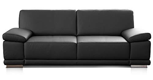 CAVADORE 3,5-Sitzer Sofa Corianne in Kunstleder / Große Ledercouch in hochwertigem Kunstleder und modernem Design / Mit verstellbaren Armlehnen / 248 x 80 x 99 / Kunstleder schwarz