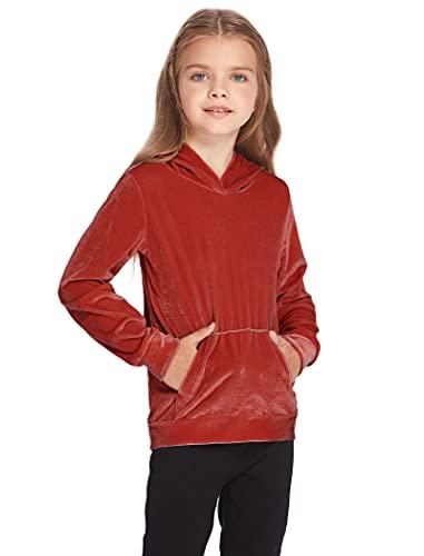 Bricnat Sudadera con capucha para niña, monocolor, manga larga, con bolsillos, para otoño e invierno, rojo, 110 cm