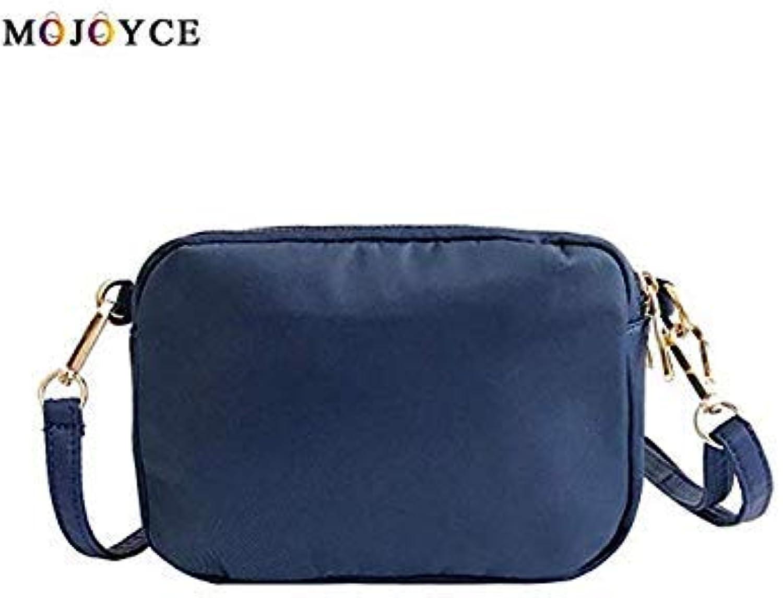 Bloomerang Casual Women Shoulder Bag Solid color Waterproof Nylon Zipper Crossbody Bags Female Handbag Bolsa Feminina color blueee Size 20cm