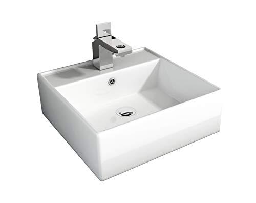 LEMONBATH Lavabo cuadrado sobre encimera lavabo pequeño suspendido con taladro hueco grifo blanco 410X410150 (BLANCO SUSPENDIDO)