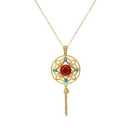 Regalo Collar colgante rojo del sur de la vendimia para las mujeres, el palacio de la vendimia S925 ST925 plateado collar chapado en oro, gran regalo para las chicas de mamá - Joyas ( Color : Gold )