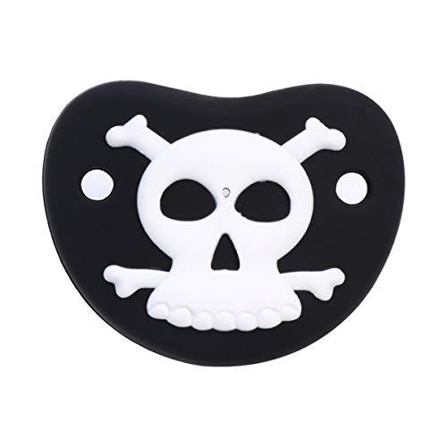 Pretyzoom Chupete de Halloween divertido pezón recién nacido Chupete niños Appease Toy Accesorios de enfermería negro (diseño de calavera)