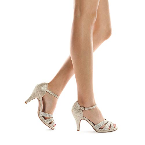 DREAM PAIRS Women's Amore_1 Gold Glitter Fashion Stilettos Open Toe Pump Heel Sandals Size 8 B(M) US