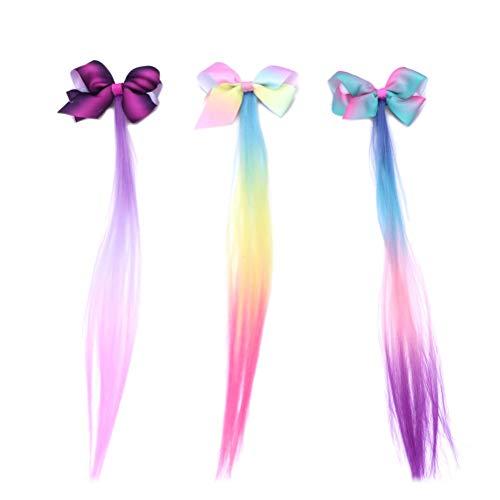 Lurrose 3pcs bowknot hairpin gradiente colorato parrucca arco clip per capelli per bambini grils