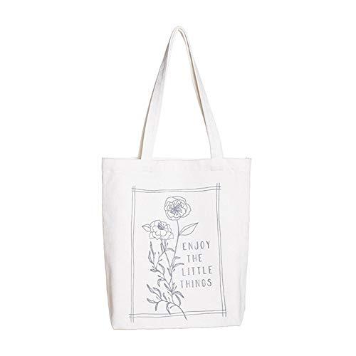 MoGist Strandtasche Canvas Umhängetasche Einfache Art und Weise drucken Muster Canvas Handtasche Mit Reißverschluss Damen Shopping Shopper Tasche (Stil-7)