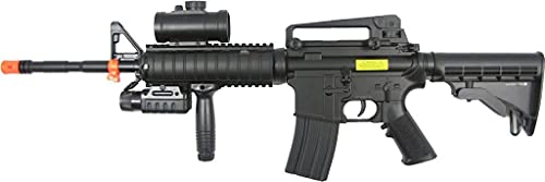 Double Eagle m83a2 m16 Electric Airsoft Gun Full auto fps-250 w/Flashlight, foregrip, red dot Scope, Silencer(Airsoft Gun)
