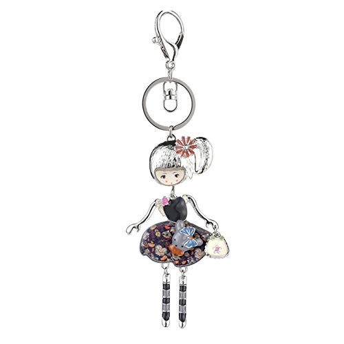 gzynyl Keychain 2021 Silver Plated Doll Keychains for Mobile Phones Key Holder Chain Rings Trendy Enamel Metal Keyring Women's Trinkets (Color : Color 3)