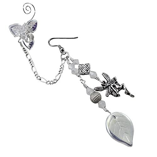 Crystal Fairy Chain Ear Cuff Earring Silver - Single or Pair