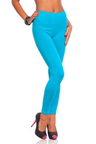 FUTURO FASHION - Damen Leggings mit hohem Bund - knöchellang - auch in Übergrößen - LWP - Türkis - 36