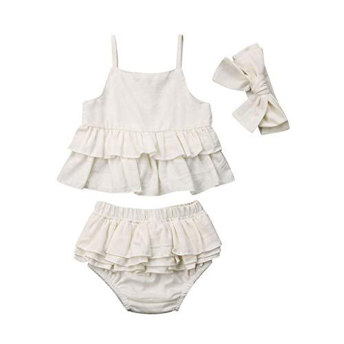 Fossen Ropa Bebe Niña Verano Conjunto de Tops sin Tirantes con Volantes sólidos + Pantalones Cortos + Diadema para Recién Nacido 0 a 24 Meses