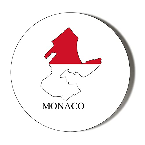 Monaco Flag Mapped 10 x 49mm Vinyl Stickers Pack of 10