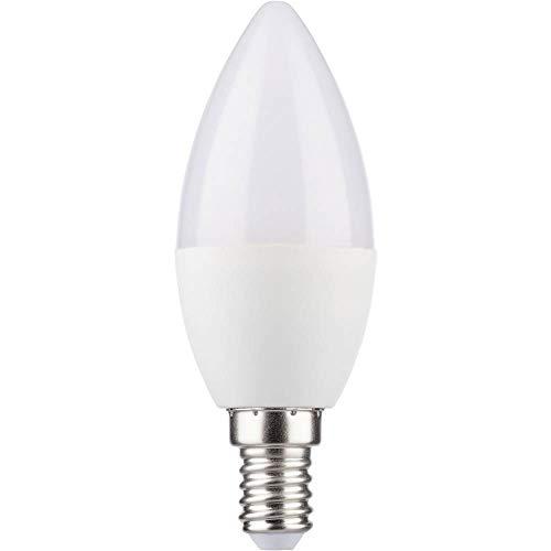 MÜLLER-LICHT 400246 A+, HD95-LED Lampe Kerzenform Ersetzt 37 W, Plastik, 5,5W, E14, weiß, 10 x 3,7 x 3,7 cm