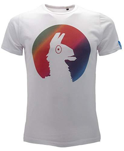 Global Brands Group - T-Shirt Blanc avec la célèbre Lame Multicolore Animaux Officiel Jeu vidéo Original Battle Royale Llama Crate (9-10 Ans)