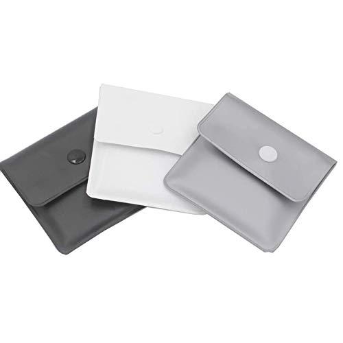 Xhuan 3 Sacs de cendrier de Poche Gris Argent Blanc Noir - PVC Ignifuge - sans Odeur - Compact Portable - Design Simple et Propre