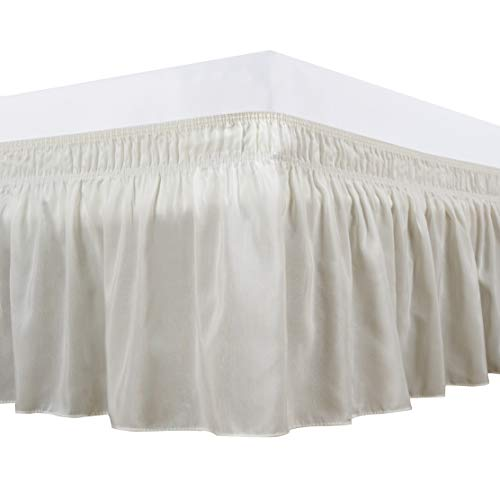 Biscaynebay Wrap Around Bed Skirts Elastic Dust Ruffles, Easy Fit Wrinkle and Fade Resistant Silky Luxrious Fabric Solid Color, Ivory for Queen Size Beds 15 Inches Drop