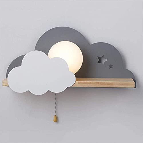 Lampada da parete camera da letto per bambini lampada da comodino lampada da corridoio macarons semplice comodino nuvola tirare corda interruttore decorazione creativa mensola lampada da parete