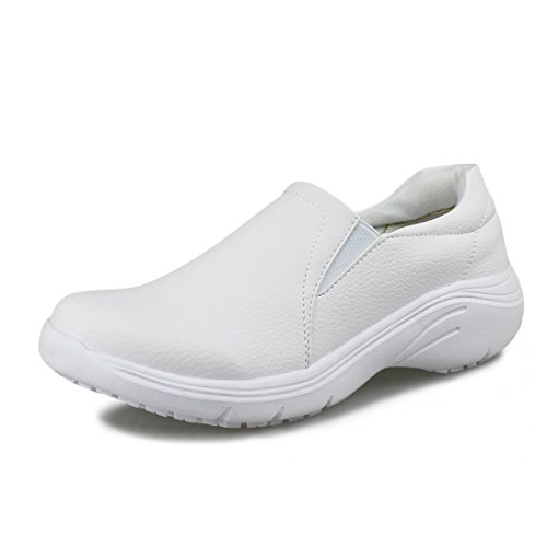 Hawkwell Women's Lightweight Comfort Slip Resistant Nursing Shoes,White PU,6.5 M US