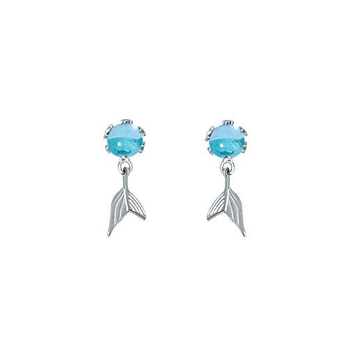 Oyrcvweuy Juego de joyas de cristal azul para mujer, hermosos pendientes de cristal de cola de pez, pulsera, anillos y collar, joyería de moda para uso diario.