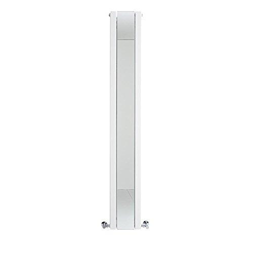 Hudson Reed Heizkörper Sloane - Vertikaler Design-Heizkörper aus Stahl in Weiß - 1800 x 265 mm - Doppellagig mit Spiegel