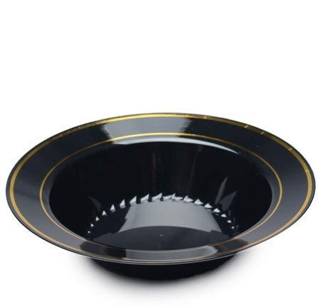 Silver Splendor Pack de 15 elegantes cuencos de plástico duro de peso pesado para fiestas, cuencos de sopa, cuencos de plástico negro, diseño dorado, 340 ml