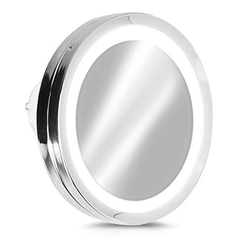 Navaris Espejo de Aumento 5X con luz - Espejo con 3 ventosas...