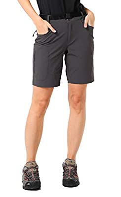 MIER Women's Stretchy Hiking Shorts Lightweight Quick Dry Cargo Shorts with 5 Pockets for Outdoor, Water Resistant, 10, Graphite Grey