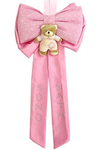 Fiocco Nascita a forma di Fiocco di colore rosa Lavorato del tutto a mano