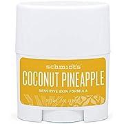 Schmidt's, Sensitive Skin Natural Deodorant Stick Travel Size oz 19.8 g, coconut pineapple, 0.7 Ounce