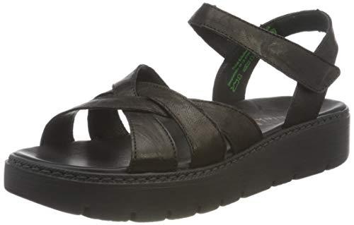 THINK! Damen Sing_3-000350 nachhaltige Riemchen Sandale, 0010 SCHWARZ, 39 EU