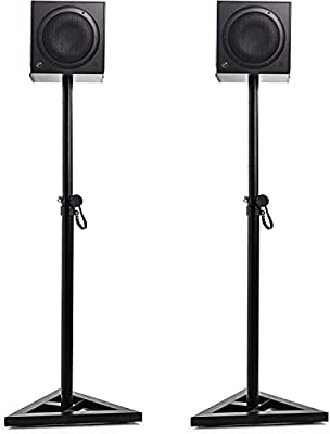 Dawoo Pair of Floor Speaker Stand for Studio Monitor Speaker Stands w/Stable Triangle Base,Adjustable 6 Height (Black) by Dawoo