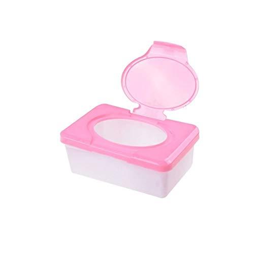 Bigbarry La Excelencia Toallitas Caja de plástico Tejido húmedo Automático Caja Llegada Pop-up Diseño de Tejidos Caso de Baby Wipes Organizador del almacenaje de la Caja abultar (Color : Pink)