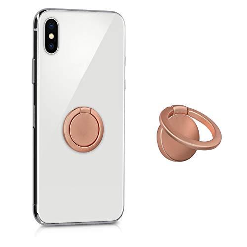 kwmobile Smartphone Ring Fingerhalter aus Metall 360 drehbare Ringhalter Handy Fingerhalterung mit Standfunktion Handyring Halterung Rosegold