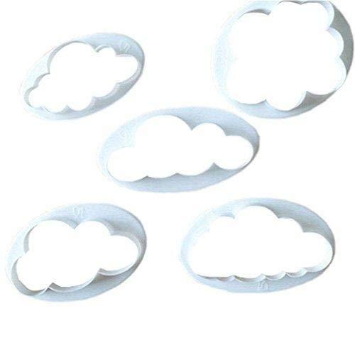 Jeffyo 5tlg. Keks Ausstechformen Cloud Wolken Ausstecher DIY Fondant Ausstechformen Deko Utensilien Modellierwerkzeug Fondant Kuchen Tortendekoration für Backen