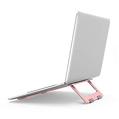 Laptop Stand, Adjustable Laptop Stand for Desk, Portable Lightweight Notebook Holder, Aluminum Removable Laptop Holder, Desktop Ergonomic Notebook Holder Rose gold