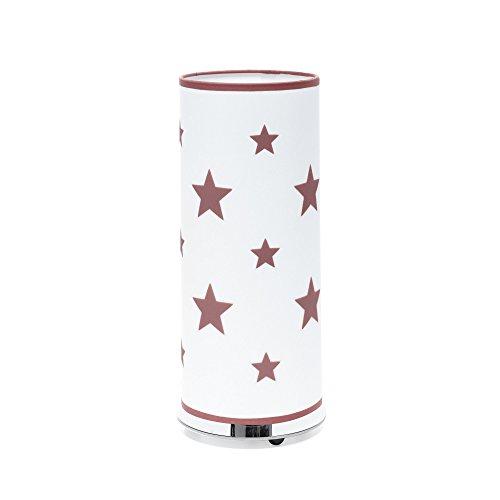 Alondra Notte Lámpara Infantil Estrellas de Sobremesa E27, 20 W, Rosa Empolvado, 14 x 35 cm