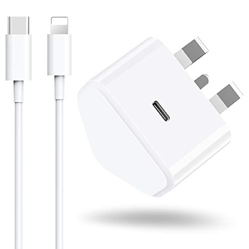Niluoya Fast USB C Plug 18W and Charger Cable, 2M Charging Cord + PD Power Delivery Type C Wall Adaptor Charger Adapter Compatible with iPhone 11 Pro Xs Max XR X 10 8 Plus SE 2020 iPad AirPods Pro