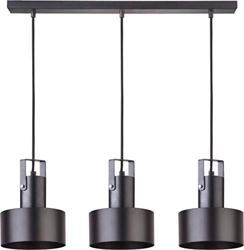 elbmöbel - Lampadario a sospensione in metallo nero e bianco, 3 luci, tessuto moderno, Schwarz - 3 Flammig 60.0W