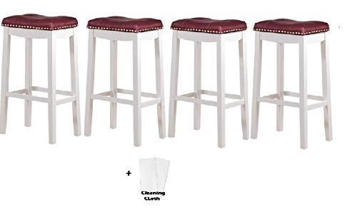 """Angel Line Cambridge Bar Stools, 29"""" Set of 4, White with Dark Red Cushion + Free Cleaning Fabric Cloth"""