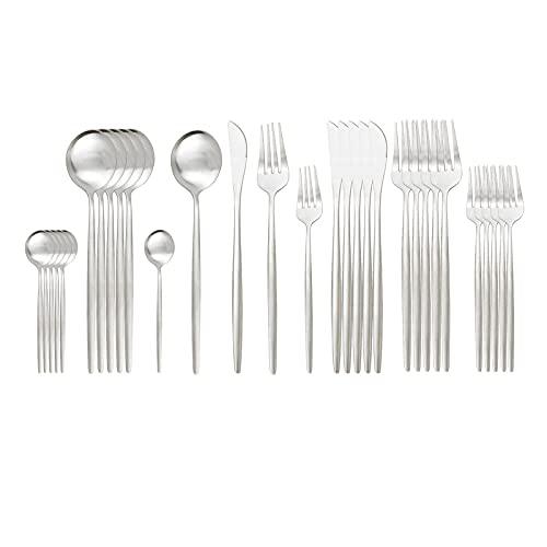Zchunrong - Juego de 30 cubiertos de oro blanco mate con cuchillo, cuchara, tenedor, vajilla de acero inoxidable, juego de vajilla de cocina, color negro y dorado CC (color: plata)