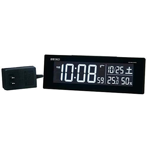 セイコークロック 置き時計 01:黒 本体サイズ:7.3×22.2×4.4cm 【ギフト包装】電波 デジタル 交流式 カラー液晶 BC406K