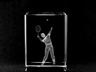 ASFOUR CRYSTAL 1159-70-74 2 L x 2.75 H x 2 W in. Crystal Laser-Engraved Tennis Player Sports Laser-Cut