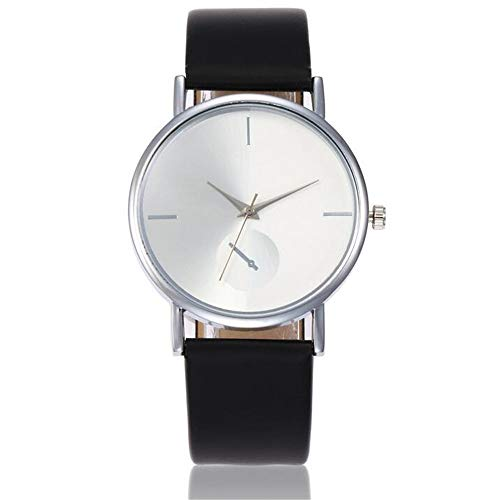 ZSDGY Creative PU Ladies Silver Watch con Carcasa de Plata, Reloj Simple Casual B