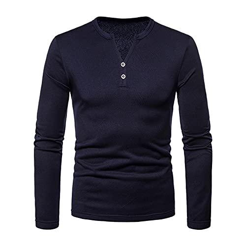 GTHTTT T-Shirt Uomo Cotone Slim Basic Scollo A V Maniche Lunghe Pullover Inverno con Decorazione Bottoni Addensato Resistente Maglietta,Marina Militare,M